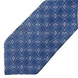 Jos. A. Bank Silk Tie Blue Geo Pattern
